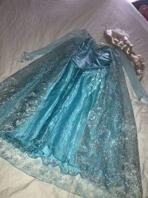 Disney Kids Girls Sequin Halloween Frozen Elsa Princess Costume Dress Blue & wig size 10/12 for Sale in West Palm Beach, FL