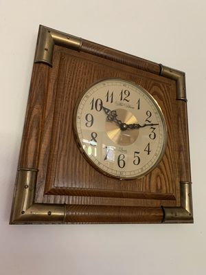 "Vintage new haven wood and brass quartz 13"" wall clock, burwood, made in USA for Sale in Hobe Sound, FL"