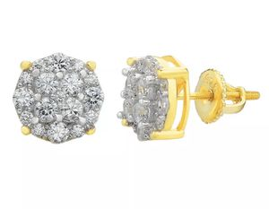 Brand new 14k gold over sterling simulated diamond stud earrings for Sale in Apopka, FL