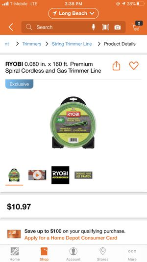 RYOBI- Spiral Cordless and Gas trimmer line for Sale in Long Beach, CA