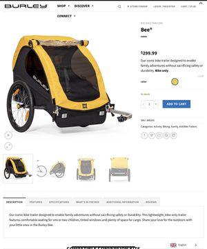 Burley Bee bike trailer 2 seats for Sale in Scottsdale, AZ