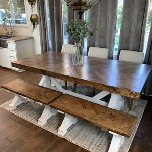 Custom Built Farmhouse Dining / Breakfast Table & Bench Solid Wood Modern Farm House Handcrafted CR WOODWORKS for Sale in Houston, TX