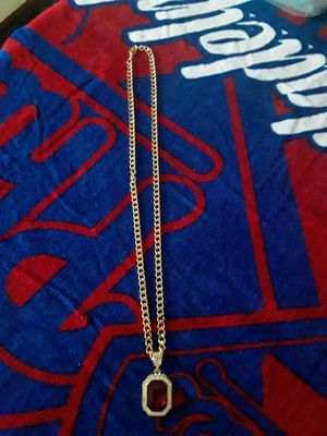 30 inch 14kt gold plated link chain with gold plated icy cz gold plated red ruby charm. Great gift. Good quality. 80 obo for Sale in Mechanicsburg, PA
