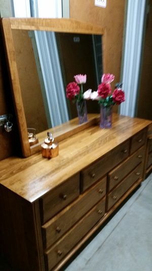 SOLID WOOD LONG DRESSER WITH BIG MIRROR ALL DRAWERS SLIDING SMOTHY for Sale in Fairfax, VA