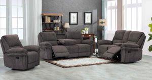 (BRAND NEW) 3-PC Harper Gray Living room Recliner Set for Sale in Austin, TX