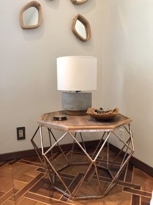 Geodesic Brushed Metal and Wood Coffee Table for Sale in Los Angeles, CA