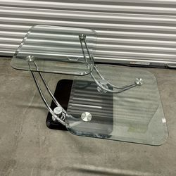 Two-tiered glass coffee table with adjustable rectangular glass for Sale in Portland,  OR