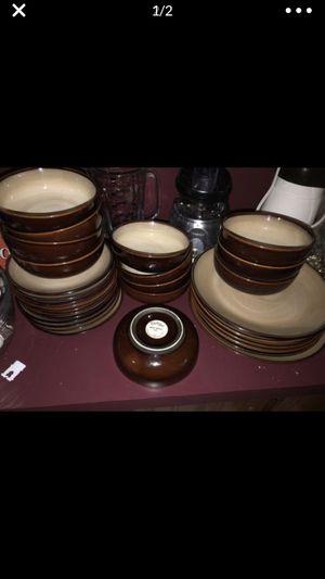 Vintage used set of Sango nova brown 4933 china dish set 6 dinner 11 salad 12 bowls, 29 total pieces for Sale in Portland, OR