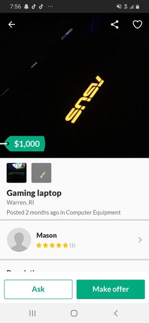 Gaming laptop for Sale in Warren, RI