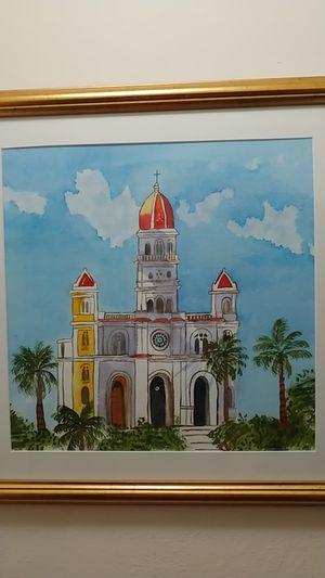 Our Lady of Charity. Santuario Nuestra Senora de La Caridad del Cobre. Original Watercolor painting by Nimia. for Sale in Miami, FL