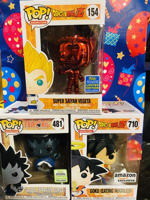 Anime funko pop fairly tail and dragon ball z exclusive 30$ each for Sale in Imperial Beach, CA