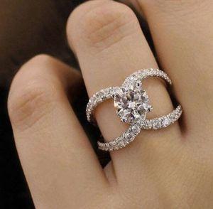 Chanel Luxury Designer 925 Sterling Silver 3.87ct White Diamond CC Design Ring Size 6 for Sale in Manassas, VA
