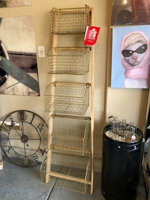 "Brand New Ladder Shelf with Gold Wire Baskets (Dimensions: 20""x12""x57"") REGULAR RETAIL $145 for Sale in North Las Vegas, NV"