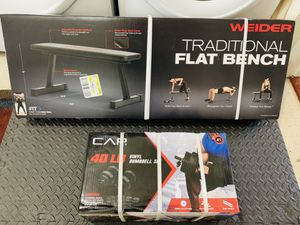 All Brand New🎁 Flat Bench + CAP 40 lbs Dumbbells Set🏋️♂️💪🏼 for Sale in Stockton, CA