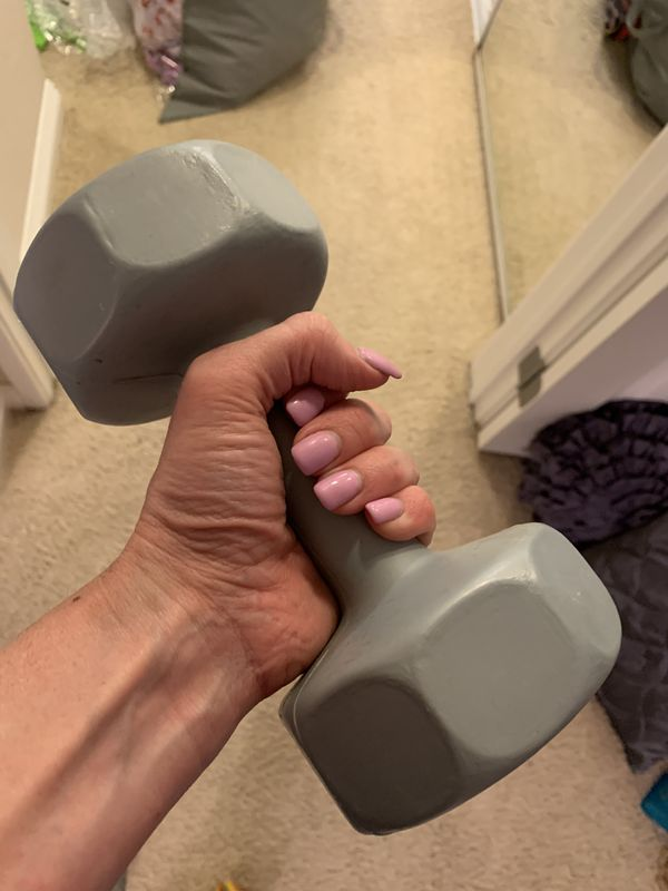 Home fitness yoga ball dumb bell weights etc.