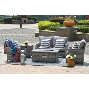 New, unopened: DIRECT-WICKER-Maxwell-5-Piece-Aluminum-Wicker-Patio-Gas-Fire-Pit-Conversation-Set-with-Gray-Cushions-PAF-1801/309023603 for Sale in Littleton, CO