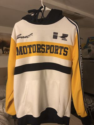 Large white navy and yellow motor sports hoodie for Sale in Roosevelt, NY