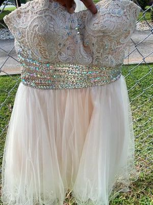 Junior prom dress champagne color, beaded for Sale in Riverdale, GA