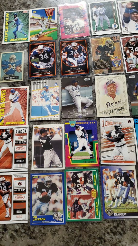Lot of 40 BO JACKSON Raiders/Royals/white soxs cards for $25
