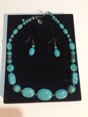 Vintage spiderweb turquoise stone necklace and earrings set for Sale in Fairfield, IA