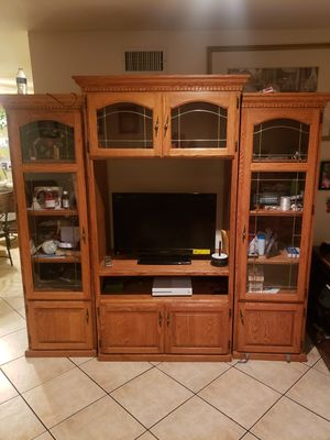 TV stand with shelves and cabinets with storage for Sale in Ontario, CA