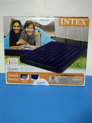 Bed Intex Inflatable Downy Queen Air Camping Mattress for Sale in Porterville, CA