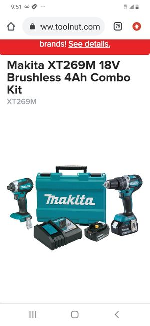 Makita lxt brushless drill set ( 4.0 Ah batteries and charger and hard case for Sale in San Jose, CA