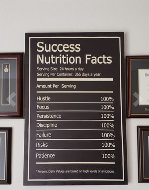 NEW Success Nutrition Motivational Wall Art On Canvas Size 12 x 18 for Sale in Indianapolis, IN