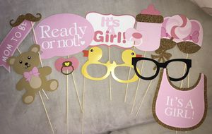 Baby shower photo booth props for Sale in Houston, TX