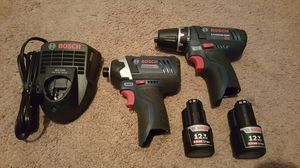 Bosch 12v drill+impact+2 batteries+carry case for Sale in Marysville, WA
