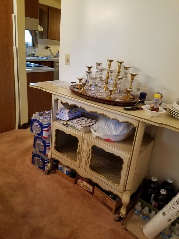 Dining room table with 6 chairs, china cabinet, corner table, tea cart