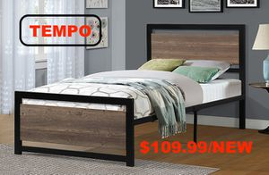 Metal Bed Frame with Wooden Headboard, Twin for Sale in Norwalk, CA