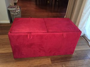 Red ottoman with storage and trays for Sale in Fairfax, VA