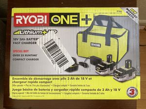 Ryobi 18v 3ah battery charger fast charger starter kit for Sale in Long Beach, CA