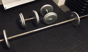 Dumbbells and barbell set for Sale in New York, NY