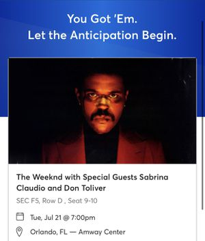 VIP THE WEEKND TICKETS! for Sale in Orlando, FL
