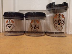 Plastic Sugar Skull 💀 Storage Containers, set of 3 for Sale in Garland, TX