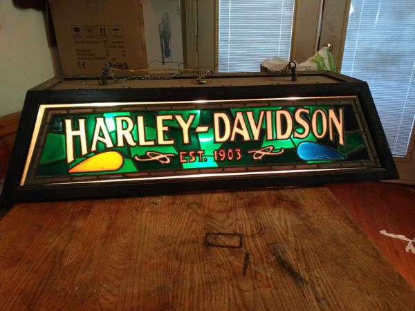 Harley Davidson Stained Glass Bar Or Pool Table Light For