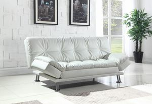 White modern faux leather sofa bed futon for Sale in Lauderhill, FL