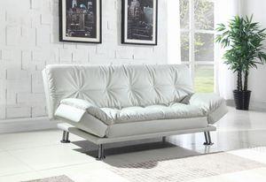 White modern faux leather sofa bed futon for Sale in Lauderhill, FL