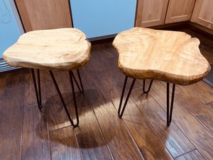 """Brand new cedar wood/iron legs side tables. ~15""""x~14""""x16"""" Pet/smoke free home. for Sale in North Bethesda, MD"""