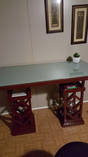 Custom built high office desk with glass for Sale in US