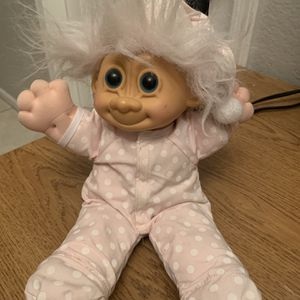 "Russ Berrie White Hair Blue Eyed Troll Baby Doll Plush 12"" Tall Cloth for Sale in Phoenix, AZ"