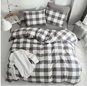 100% Washed Cotton 3 Pcs Duvet Cover queen - Gray Buffalo Plaid Comforter Cover queen- Ultra Soft Breathable Durable for Sale in Rancho Cucamonga, CA
