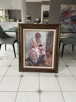 Una Rosa by Laura Nadia Lozano Canvas Painting. Framed size 24 Wide x 38 L for Sale in Canton, MI
