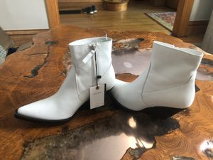 Zara leather white booties for Sale in Denver, CO