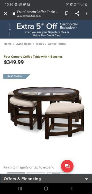 Four Corners Coffee Table with 4 Benches for Sale in UPPR MARLBORO, MD