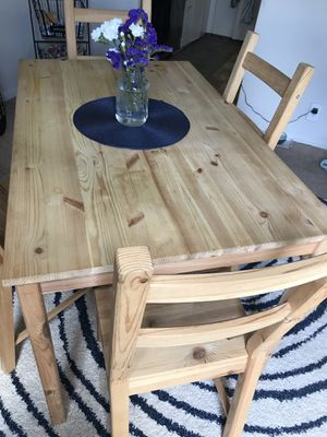 Ikea 'Ingo 'natural wood kitchen table and 4 chairs - (unstained) for Sale in Falls Church, VA