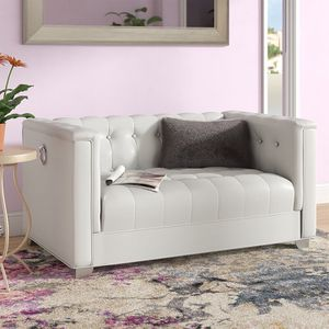 Pearl White Leatherette Loveseat with Chrome Legs for Sale in South Gate, CA