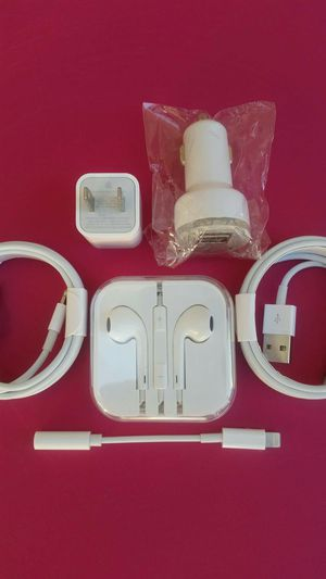 (2m) Apple Combo Bundle/Brand New Original Apple IPhone Charger and Car Charger and Headphones with Headphone adapter for IPhone 7,8,9,10 and Newer for Sale in Lincoln Acres, CA